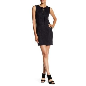 1. STATE faux suede lace-up bodycon black dress